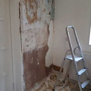 Old wallpaper removed and walls sterilised to kill mould spores - Harrogate