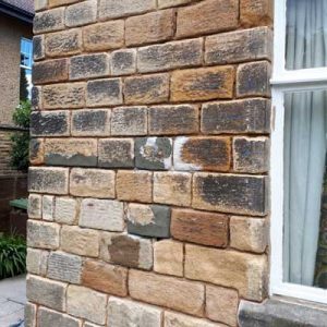Rear stone walls prior to repointing - Harrogate