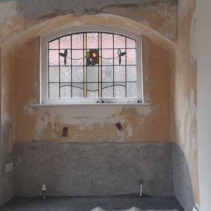 Specialist renovating plaster applied to the walls