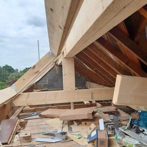 Trimming out and adding new purlins to support the roof - Ilkley